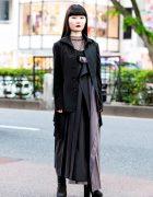 Monochrome Minimalist Street Style w/ Yohji Yamamoto Coat, Yohji Pleated Dress & Suede Platform Boots