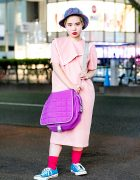 Retro Vintage Street Style in Harajuku w/ Polka Dot Dress, Converse Sneakers, Chanel Bag & Plaid Hat