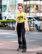 Japanese Model in Harajuku w/ Vintage D.O.A. Top, Hysteric Mini Bag, Jouetie & Dr. Martens