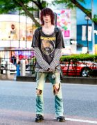 Grunge Street Style in Harajuku w/ Ramones, Hysteric Glamour, Ksubi, Levi's, Vivienne Westwood & Dr. Martens Crazy Bomb