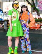 Colorful Retro-Vintage Floral Harajuku Street Fashion w/ Flower Glasses & Neon Socks
