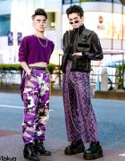 Purple Harajuku Street Styles w/ High-Low Sweater, Rothco Camo Pants, Never Mind the XU Snakeskin Pants, Gallerie Vest & WEGO Backpack