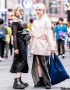 Blonde Harajuku Girls in Monochrome Streetwear w/ Tom Ford, Margiela, Newrock & Handmade Fashion