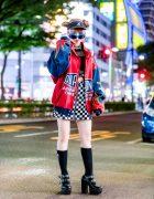 Harajuku Girl w/ Double Bun Hairstyle, WC Checkered Skirt, Yosuke Platforms, UNIF Rainbow Backpack & Kangol, Visor