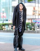 Statement Japanese Menswear Suit Street Style w/ Blazer Worn Over Head, Double Neckties, Yohji Yamamoto & Foot The Coacher