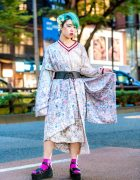 Harajuku Street Style w/ Green Hair, Floral Kimono, WEGO Lace Dress & Takeshita Dori Platform Sandals