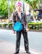 Mixed Prints Street Style w/ New York Joe Textured Shirt, Mercibeaucoup Top, Kinji Metallic Pants & Quilted Bag