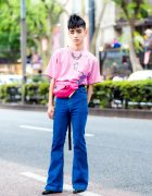 Japanese Street Style w/ Pink Queen Elizabeth T-Shirt, Flare Jeans, Waist Bag & Studded Boots