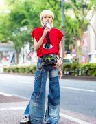 Japanese Remake Denim Style w/ Kobinai Top, Flared Jeans, Demonia Creepers & Dreamkiller Waist Bag