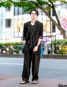Japanese Actor in Minimalist Street Style w/ Yohji Yamamoto, Dior Homme & Snakeskin Print Sandals