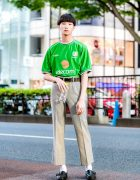 Tokyo Streetwear Style w/ Umbro Soccer Jersey, Balenciaga Cropped Pants, Ralph Lauren Loafers & Comme des Garcons Belt
