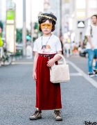 7-year-old Coco in Harajuku w/ Fiorucci T-Shirt, Vintage Velvet Skirt, Gucci Sneakers & Pillbox Hat