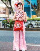Japanese Hair Stylist in Harajuku w/ Strawberry Print Blouse, Mystic Wide Pants, Last Virgin Marilyn Monroe Bag & Fila Sneakers
