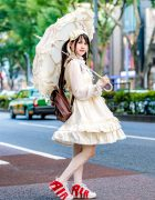 Baby The Stars Shine Lolita Fashion, Nike Air Pippin Sneakers, Parasol & Teddy Bear in Harajuku