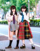 Japanese School Uniform Inspired Harajuku Street Styles w/ Neck Ties, Cardigan, Plaid Multi-Panel Skirt & Loafers