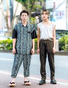 Harajuku Street Styles w/ Kidill IDOL Print Outfit, Geta Sandals, Ripped Shirt & Foot The Coacher Leather Shoes
