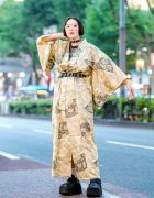Vintage Gold Japanese Yukata Street Style w/ Platforms, Mary Quant Backpack & Another Youth Accessories