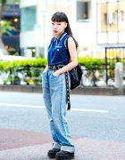 Vintage Harajuku Street Style w/ Baggy Jeans, Platform Creepers, Adidas Backpack & Livberty Choker