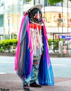 Conceptual Japanese Street Fashion w/ Statement Headpiece, Sheer Cape, Radd Lounge, Creepers & Painted Jeans