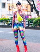 Harajuku Girl w/ Nodress Graphic Top, Metallic Pants, Neon Yellow Bag & Red Boots