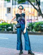 Japanese Model in Harajuku w/ Vintage Metallica Tee, Perverze, Bigotre, Dr. Martens & Fendi