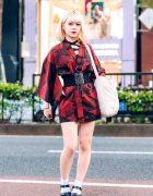 Japanese Kimono Dress Street Style w/ Liz Lisa, Corset Belt, Strappy Sandals & Canvas Bag