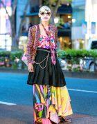 Japanese Fashion Designer in Avant-Garde Street Style w/ Necktie, Comme des Garcons, Frammy, Vintage Tops & Coin Glasses