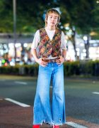 Harajuku Guy's Retro Vintage Street Fashion w/ Floral Vest, Flared Jeans, Beauty:Beast & Banal Chic Bizarre Heeled Boots