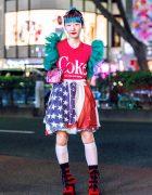 Harajuku Girl Street Style w/ Aqua Updo, Microwave HK Coke Ruffle Top, Go To Hollywood Skirt & Punk Cake Boots