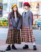 HEIHEI Harajuku Girls in Plaid Streetwear Styles w/ Blazer, Plaid Skirt Dress, Veil Berets & Yosuke