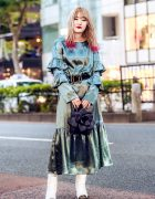 Japanese Fashion Designer Street Style w/ Red Hair Tips, lilLilly Ruffle Dress, Metal Tip Boots & Vintage Flower Petal Handbag