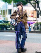 Harajuku Girl in Strap Pants, Vintage Blouse, Yosuke Platform Shoes & Vivienne Westwood Accessories