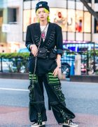 Remake Japanese Streetwear in Harajuku w/ Neon Hair, Vintage Blazer, Strap Pants, Demonia Creepers, Basic Cotton Bag & Carhartt Beanie