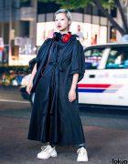 Harajuku Fashion Model w/ Toga Dress, Red Headphones, White Sneakers & MM6 Maison Margiela Bag