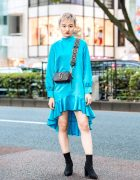 Chic Minimalist Tokyo Street Style w/ Beams Ruffle Dress, Velvet Heeled Boots & Marc Jacobs Logo Bag