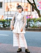 Sheer & Floral Lace Vintage Street Style w/ (Me) Harajuku, E Hyphen World, Spinns, Freitag & Retro Girl