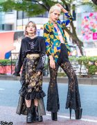 Japanese Street Styles w/ Black Floral Lace, Fishnets, M.Y.O.B., Remake Fashion, Kinji Vintage, Demonia & Pleaser Platforms