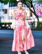 Harajuku Fashion Designer in Strawberry Skies Pink Ruffles & Vintage Sweater Street Style