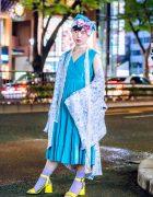 Vintage Tokyo Street Style w/ Blue Dress, Floral Kimono, Yellow Sandals & Floral Headpiece