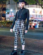 Tall Black Hat & Plaid Pants Harajuku Street Style w/ Vivienne Westwood & Monster