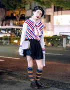 Y/Project Striped Top, Kidill Cross Necklace, Charles Jeffrey Shorts, Serpui Bag, Church's Brogues & Sequin Hat in Harajuku