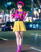 Cheerful Harajuku Teen Style w/ Pink Beret, Vintage Top, Checkered Skirt, Chanel Earrings & WEGO Sandals