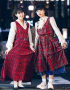 Harajuku Girls Matching Vintage Plaid Street Styles by Florida Shimokitazawa, Kangol, Santa Monica & Tokyo Bopper