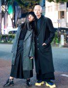 Harajuku Duo's All Black Minimalist Street Styles w/ Yohji Yamamoto, Comme des Garcons, Raf Simons, Dr. Martens & Hyke