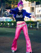 GlamHate Designer's Tokyo Streetwear Style w/ Purple Hair, Faux Fur Jacket, D&G Crop Top, Vinyl Flare Pants & Office Kiko Zebra Platforms