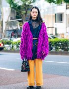 Harajuku Street Style w/ Jouetie Fuzzy Purple Cardigan & GVGV Pants, Dr. Martens & Vintage Fashion