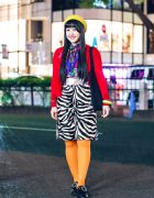 Harajuku Girl w/ Zebra Print Skirt, Orange Tights, Red Jacket, Yellow Beret, Aymmy In The Batty Girls Bag & WEGO Shoes