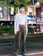 Distressed Harajuku Street Style w/ Aqua Hair, Knit Cardigan, Maison Margiela Shirt, Baggy Pants & Dr. Martens Boots