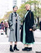 Chic Tokyo Girls Streetwear Styles & Short Hairstyle w/ GVGV Coat, Toga Japan Dress, Harness & Snakeskin Platform Boots