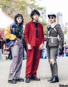 Harajuku Trio in Sukajan, Faith Tokyo Pants, Woolrich Houndstooth Suit, Undercover Blazer, Noir Kei Ninomiya Plastic Collar & Prada Wingtip Sneakers